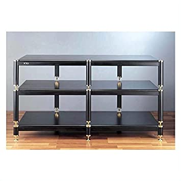 "BL 4336"" TV Stand Shelves: Oak, Poles/Caps: Black Poles/Chrome Caps"