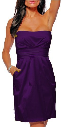 Purple satin strapless pockets cocktail evening dress, Small
