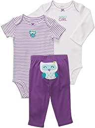 Carters Girls 3pc Owl Onesie Set, Pur…