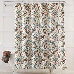 Seafoam Green Brown Tan Medallion Fabric Shower Curtain
