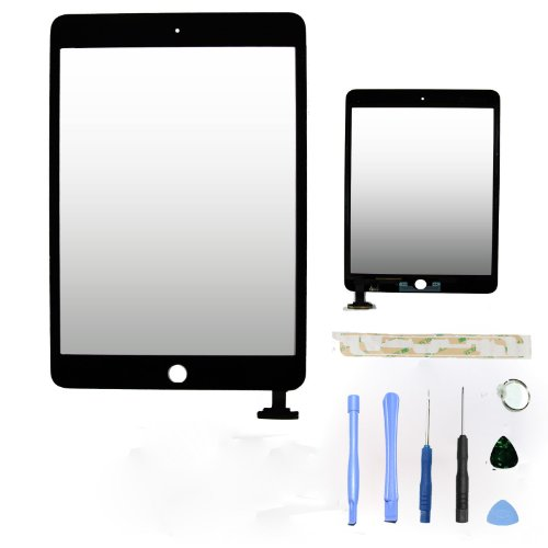 Flylinktech® Front Glass Digitizer Touch Panel Screen Replacement for iPad Mini - Black (No home button&ic chip)