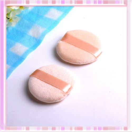 B0191Round Facial Face Sponge Makeup Cosmetic Loose Powder Puff with Satin Ribbon B0191