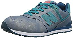 New Balance KL574G Mineral Glow Classic Running Shoe (Big Kid), Teal, 5 W US Big Kid