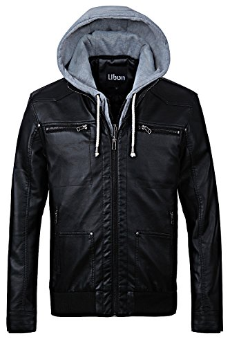 Ubon Men's Moto Faux Leather Jackets With Hood(Black,US- XL/(ASIAN-2XL) (Faux Leather Removable Hood compare prices)