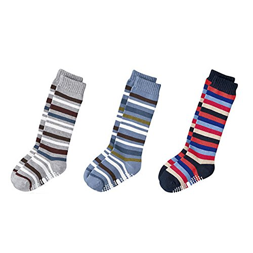 Deer Mum Boy'S Striped Pattern Absorb Comfortable Cotton Tube Socks 3 Pairs (S) front-1000941