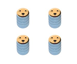 Golden Retriever Face – Pet Dog Tire Rim Wheel Aluminum Valve Stem Caps – Light Blue Color