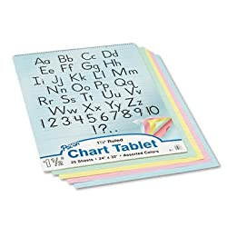 Pacon 74733 Colored Chart Tablets, Ruled, Spiralbound, 24&quot; x 32&quot;, Assorted Colors