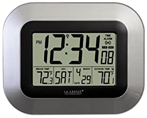 La Crosse Technology WS-8115U-S Digital Wall Clock with Indoor and Outdoor Temperature