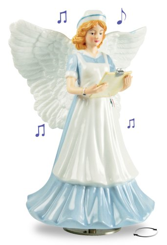 Nurse Angel Musical Porcelain Figurine Revolving Music Box - Plays: Wind Beneath My Wings - 8 Inch