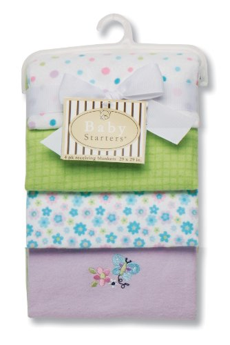 Baby Starters Butterfly Receiving Blanket, Lilac, 4 Pack