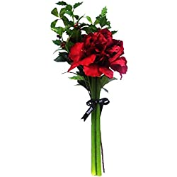 Peony 6121 Amaryllis Holly and Foliage Artificial Floral Bouquet Wrapped in Cellophane with Peony Ribbon - Red