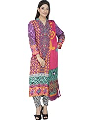 Mubaarak Women's Chiffon Churidar And Shirt Stitched With Chiffon Dupatta - B0195AUACS