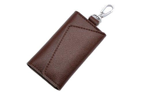 Heshe Fashion Leather Key Case Pure Color 6 Key Holder Keychain Key Ring (Tapestry Brown) (Key Package compare prices)