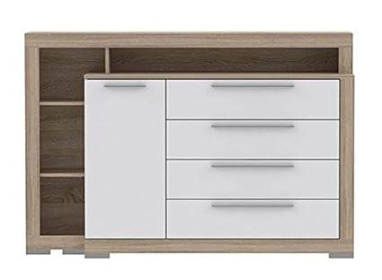 Schlafzimmer - Kommode Bassori 04, Farbe: Sonoma Eiche / Weiß Hochglanz - Abmessungen: 107 x 162 x 42 cm (H x B x T)