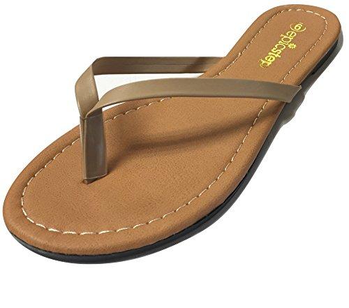 Womens Basic T Strap Vegan PU leather Summer Sandals Strap Flip Flop Sandal Shoe (7, Nude)