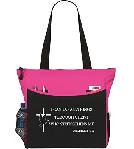 Philippians 4:13 I Can Do All Things Tote Bag Christian Cross Bible Verse Church Office School Travel Gym Book Shopping Organizer - Pink Black