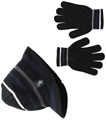 U.S. Polo Association  Big Boys' Striped Visor Knit Glove Set, Black, One Size