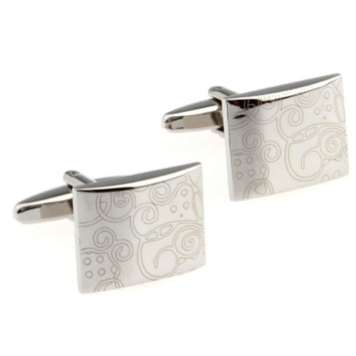 Beour White-Gold-Plated-Silver Fashion Silver Copper Alloy Cufflinks For Men