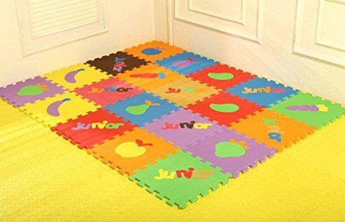 Smile YKK 10tlg. Baby Schutzteppich Puzzlematte Spielmatte Kinderteppich Spielteppich Schaumstoffmatte Deko Obst und Englisch