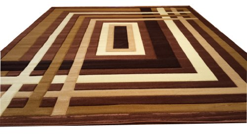 J704 Contemporary Modern Jagged Maze Pattern Brown Hand Carved 5x8 Actual Size 5'3x7'2 Rug