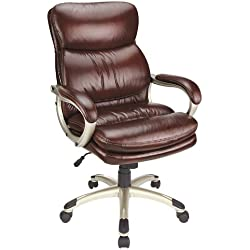 Realspace 44269 Broward Faux Leather High-Back Chair - Brown/Silver