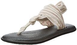Sanuk Women\'s Yoga 2 Prints Flip-Flop,Tan/Natural Stripes,8 M US