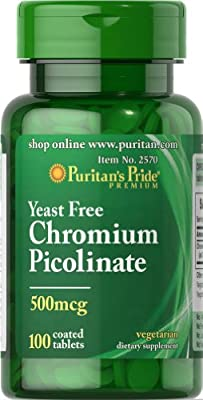 Puritan's Pride Chromium Picolinate 500 mcg Yeast Free-100 Tablets
