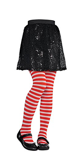 Red and White Striped Kids Tights - Child S/M