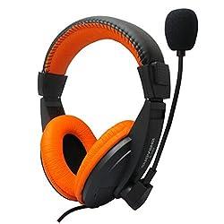 Microphone DZT1968 Fashion Stereo Earphone Headband PC Notebook Gaming Headset Pink Orange
