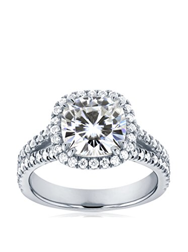 Kobelli 14K White Gold Cushion-Cut Moissanite & Diamond Halo Engagement Ring