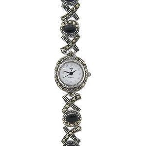 sterling silver marcasite genuine black onyx xo design watch