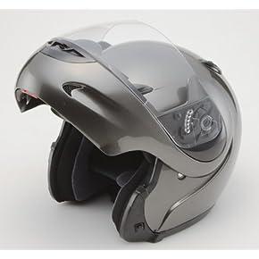 安全規格フリップアップフルフェイスヘルメット●672●ガンメタLサイズ
