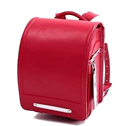 Ransel Randoseru satchel bag A4 Clear file fits Japanese school bag with rain cover Japan Imported (Red)