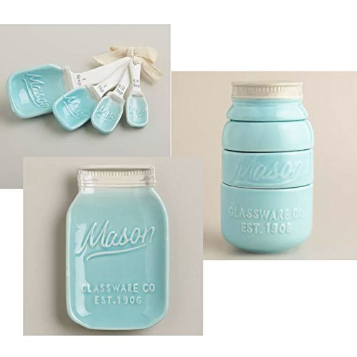 Mason Jar Ceramic Kitchenware 3 Piece Set: Spoon Rest, Measuring Cups and Spoons - Blue (Blue Mason Jars For Sale compare prices)