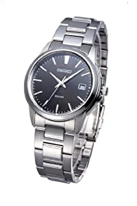 Seiko Men's Quartz Watch with Black Dial Analogue Display and Silver Stainless Steel Bracelet SGEF51P1