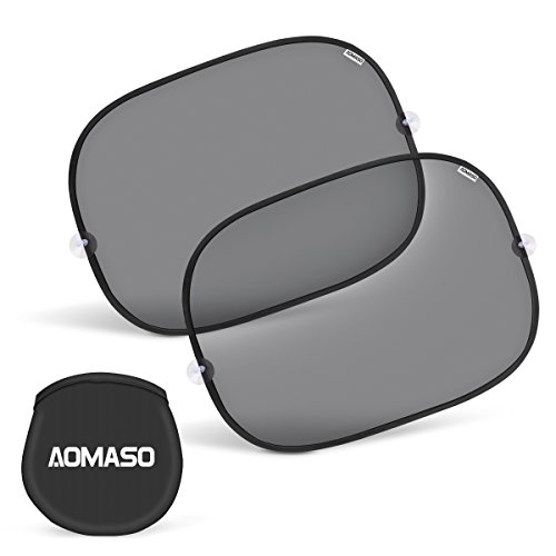 Aomaso Car Side Window Sun shade (2 Pack) for Baby and Kids, 17 x 14inch Easy Cling and Twist Auto Car Side Window Sunshade Protector Blocks UV Fits Most Cars, SUV, Trucks (Car Side Window Sun Visor compare prices)