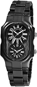 Philip Stein Women's 2CB-MB-CB Signature Black Calfskin Ceramic Metal Watch