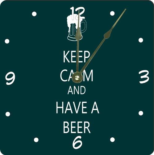 "Rikki Knighttm Keep Calm And Have A Beer Green Color Design 6"" Art Desk Clock front-626398"