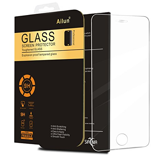 iPhone 5S Screen Protector,By Ailun,compatible for iPhone SE 5 5c 5S,Tempered Glass,9H Hardness,2.5D Edge,Bubble Free,Anti-Scratch,Fingerprint&Oil Stain Coating,Case Friendly-Siania Retail Package (Packages Of Iphone 5s Cases compare prices)