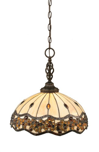 Toltec Lighting 82-DG-997 Eleganté One-Light Pendant Dark Granite Finish with Italian Roman Jewel Tiffany Glass, 16-Inch