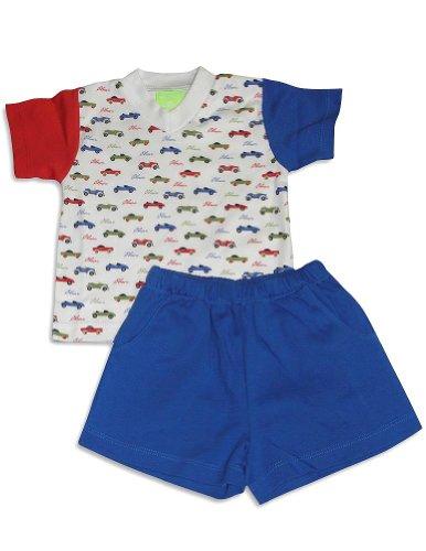 Snopea - Baby Boys Short Sleeve Classic Cars Short Set, White, Royal 27556-24Months
