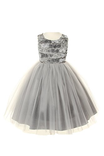 Cinderella Couture Girls Platinum Tulle Party Dress with Velvet Bolero Jacket