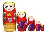 niceEshop(TM) Set of 5 Cutie Nesting Dolls Matryoshka Madness Russian Doll +Free niceEshop Cable Tie