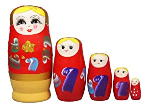 niceEshop(TM) Set of 5 Cutie Nesting Dolls Matryoshka Madness Russian Doll +Free niceEshop Cable Tie