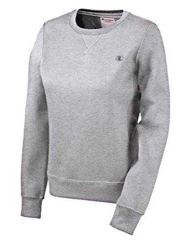 2dc393437 Champion Women's Eco Fleece Crewneck Sweatshirt, Oxford Gray, Large Feature
