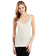 Modal Rich Floral Lace Ribbed Thermal Camisole with Silk