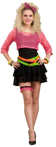 Women's 1980s Groupie Costume. Mesh Top, Dress, Belts