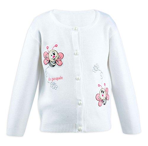 De Poupee Baby Girls' Pink Butterfly Applique Knit Cardigan Sweater 9-12 Months