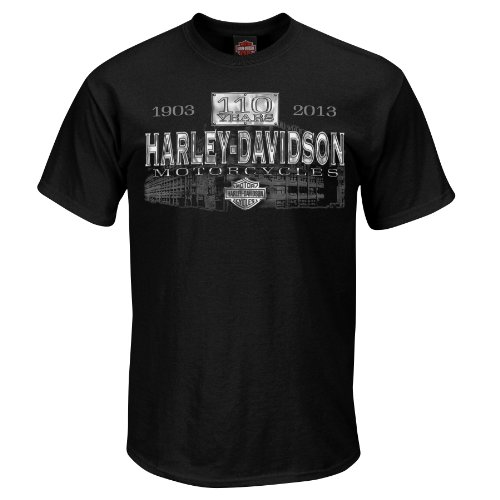 Harley-Davidson Mens 110th Anniversary Rumble Around Black Short Sleeve T-Shirt (Large)