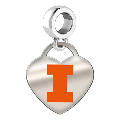 Illinois Fighting Illini Sterling Silver Color Heart Dangle